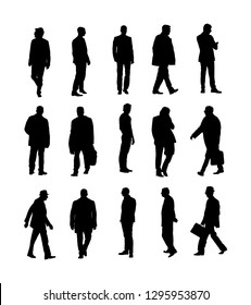 Large collection of business people. Confident leader standing. Businessman go to work vector silhouette illustration. Handsome business man in suite with phone. Standing casual pose. Relaxed man.