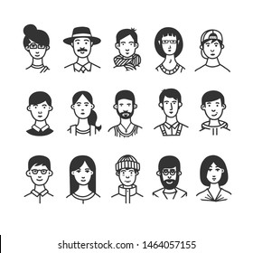 Large collection of  cartoon characters or avatars with different hairstyles and accessories hand drawn with contour lines in one  color.