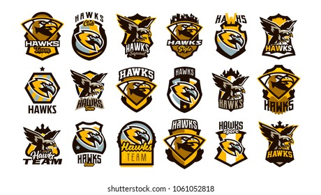 A large collection of colorful logos, badges, emblems on the theme of a hawk. Flying bird, hunter, predator, dangerous animal, shield, lettering. Mascot sports club, vector illustration