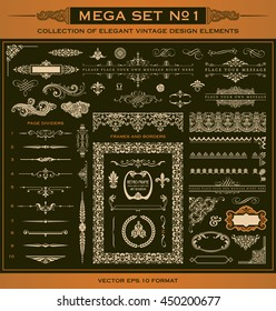 large collection of decorative vector design elements and page decoration (1) - seamless borders, page dividers, frames, labels, flourishes, ornaments and more