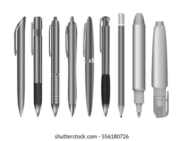 Large collection of engineering and office pens and pencils. Black and white stationery set. Vector illustration
