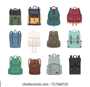 Large collection of fashionable backpacks or rucksacks. Modern casual and touristic accessories of different types and colors isolated on white background. Colorful flat vector illustration.
