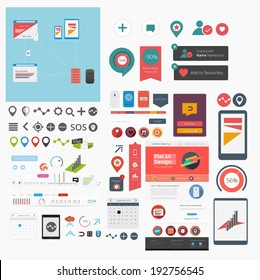 Large collection of flat web graphics