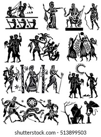 Large collection of Greek songs on a white background. Black silhouettes of the Greek heroes. Tattoos on a thematic topic.