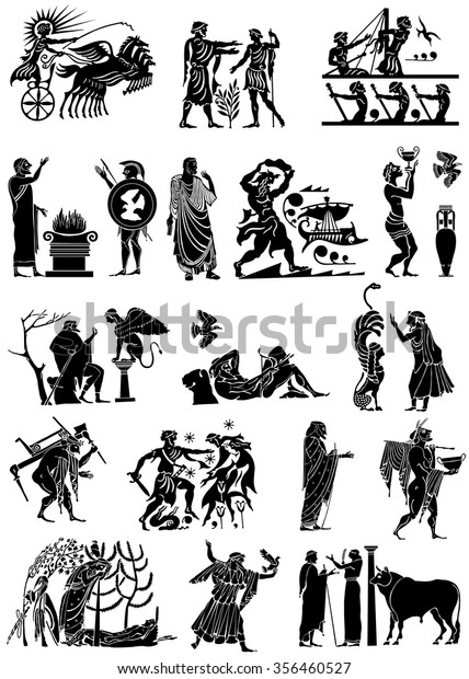 Large Collection Greek Songs On White Stock Vector (Royalty