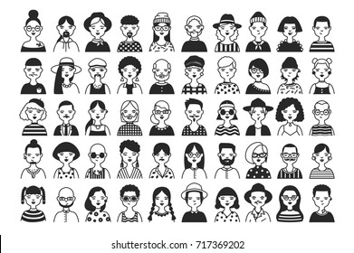 Large collection of male and female cartoon characters or avatars with different hairstyles and accessories hand drawn with contour lines in black and white colors. Monochrome vector illustration.