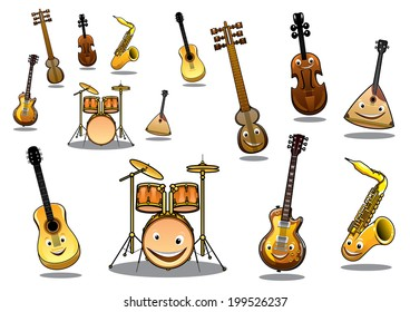 Large collection of musical logo instruments with happy cartoon faces including a zither, guitar, saxophone, electric guitar, violin and a set of drums