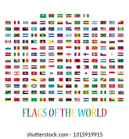 Large collection of national flags of countries