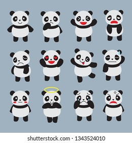 A large collection of pandas on a blue background.