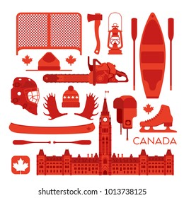 A large collection of random Canadian icons in vector format.