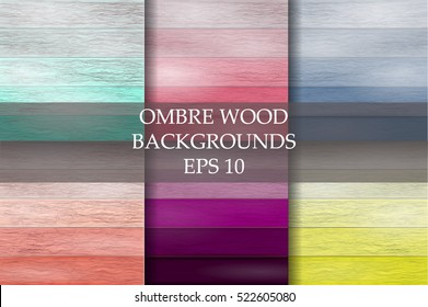 Large collection of real beautiful wooden textures.Ombre wood backgrounds. Set of vector wood.