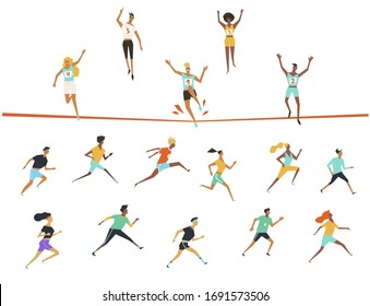 Large collection of running people. Set vector illustration.