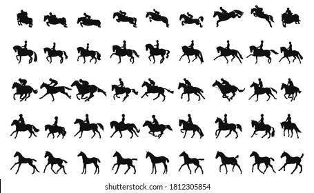 Large collection of silhouettes concept about equestrian sports, show jumping, dressage, eventing, racing, children's sports and foals