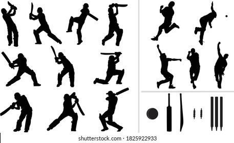 Large collection of silhouettes of cricket player - batsman, bowler & cricket elements.