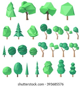 large collection of various polygonal, angular volumetric trees, vector illustration