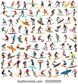 Large collection of vector surfers
