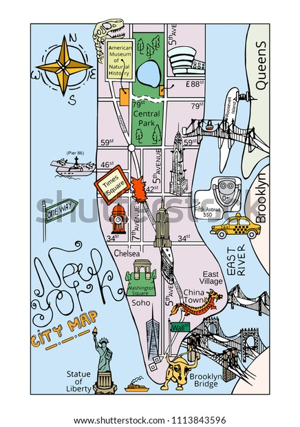 Tourist Map Of New York.Large Color Hand Drawn Illustrated Tourist Stock Vector Royalty