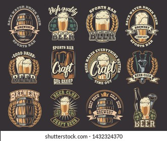 A large color set of vector illustrations on the beer theme. All elements of illustrations and text are in separate groups.