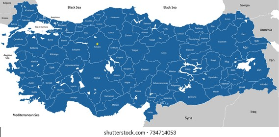 A large, colorful and detailed map of Turkey with all regions, provinces and big cities.