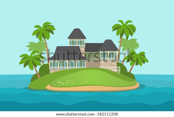 Large cottage among palm trees on a tropical island in sea. Vector flat illustration