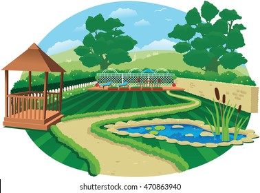 Large country garden with pond.