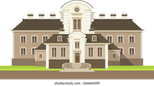 Large country house with flower beds and lawn white background,
