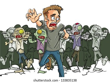 Large crowd of ghoulish undead zombies pursue a running man fleeing for his life after they find a lone survivor of the Zombie Apocalypse, cartoon illustration