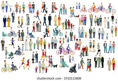 Gran multitud, grupo de personas aisladas en blanco