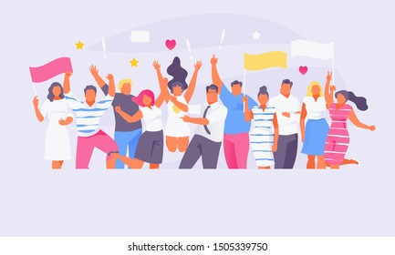 Large crowd of joyful people. Fans of show business or sports. Vector illustration