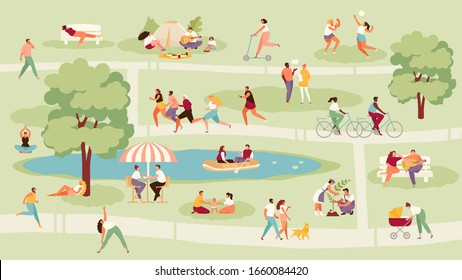 Large crowd of people in the park. Recreation, sport and outdoor activities vector illustration