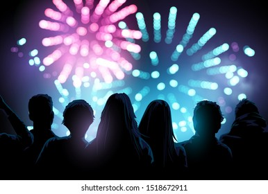 A large crowd of people watching and enjoying a firework display event. Vector illustration.