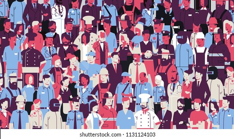 large crowd of security forces participate police watching show flat horizontal vector illustration