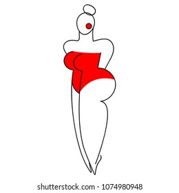 A large curvy woman in a red bathing suit. Vector illustration. Sketch.