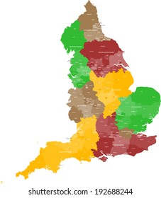 A large, detailed and colored map of England with all counties and main cities.