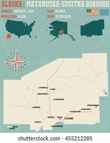 Large and detailed infographic of the Matanuska-Susitna Borough in Alaska
