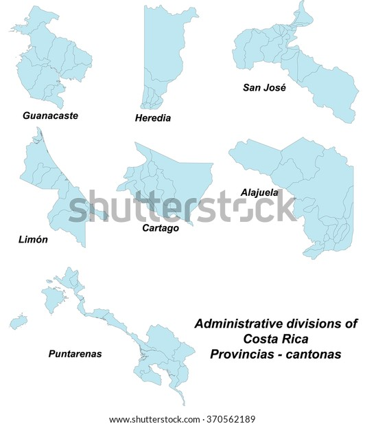 Large Detailed Map All Provinces Costa Stock Vector (Royalty Free ...