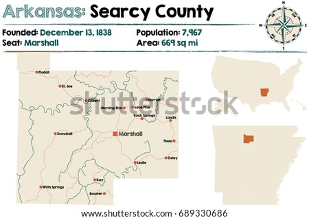 Large Detailed Map Arkansas Searcy County Stock Vector (Royalty Free ...