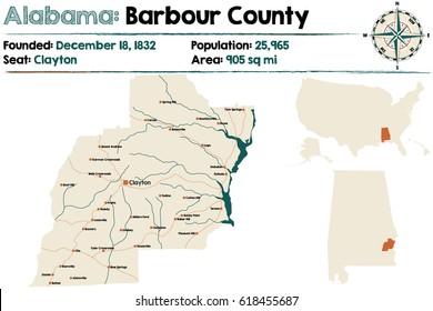 Detailed Map Archer County Texas Usa Stock Vector 1018526194