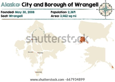 Large Detailed Map City Borough Wrangell Stock Vector Royalty Free