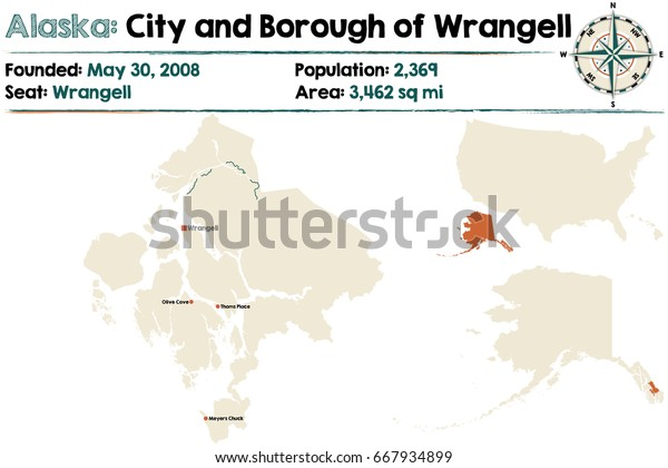 Large Detailed Map City Borough Wrangell Stock Vector Royalty Free 667934899