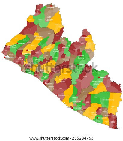 Large Detailed Map Liberia All Counties Stock Vector (Royalty Free ...