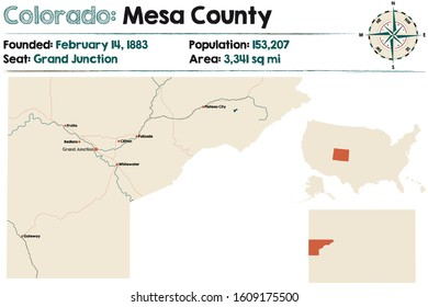 Large and detailed map of Mesa county in Colorado, USA.