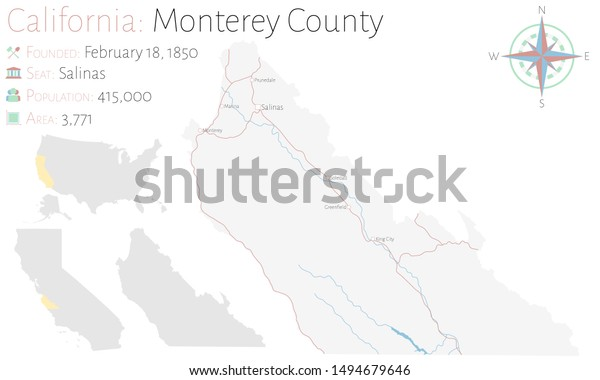 Large Detailed Map Monterey County California Stock Vector