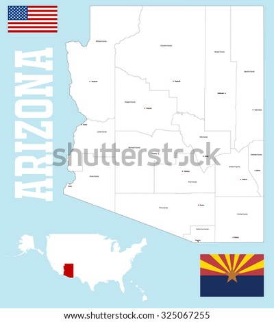 Map Of Arizona Counties And Major Cities.Large Detailed Map State Arizona All Stock Vector Royalty Free