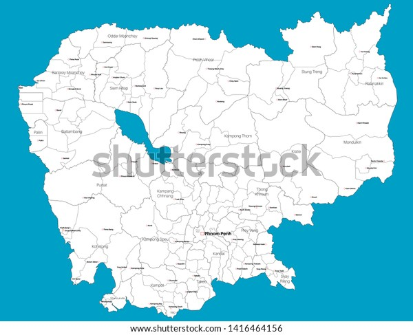 Large Detailed Map State Cambodia Asia Stock Vector (Royalty ...