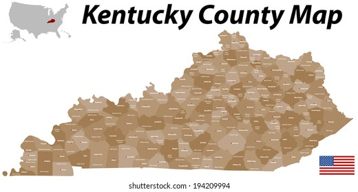A large and detailed map of the State of Kentucky with all counties and main cities.