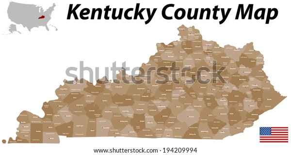 Large Detailed Map State Kentucky All | Miscellaneous ...