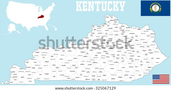 Large Detailed Map State Kentucky All Stock Vector (Royalty ...