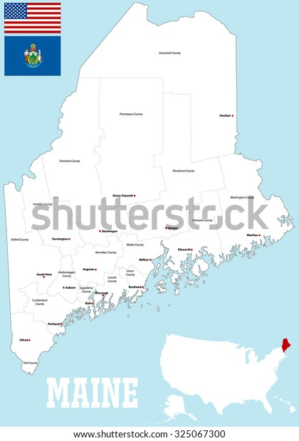 Large Detailed Map State Maine All Stock Vector Royalty Free