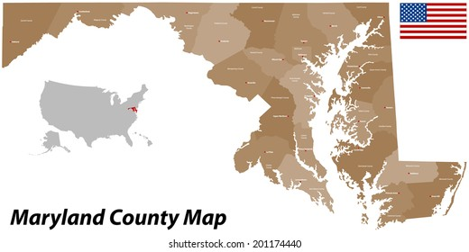 A large and detailed map of the State of Maryland with all islands, counties and main cities.